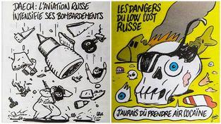 Karikatury pádu airbusu ve francouzském satirickém časopise