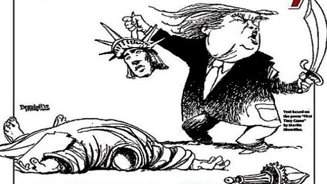Titulka NY Daily News s Donaldem Trumpem, který usekává hlavu Soše Svobody
