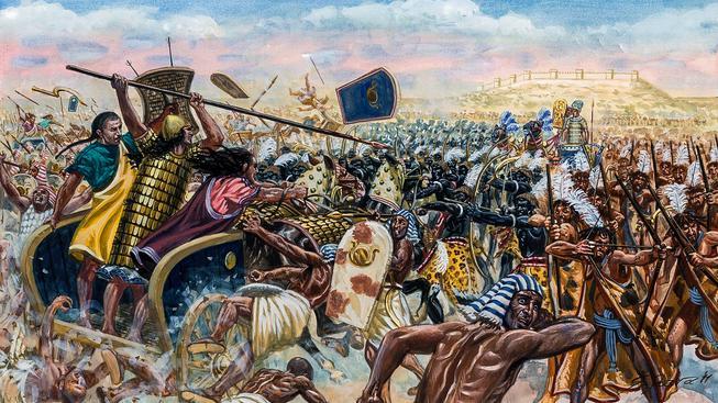 Bitva u Kadeše mezi egyptskými silami faraona Ramesse II. a Chetity pod vedením krále Muvatalliše II. u města Kadeš