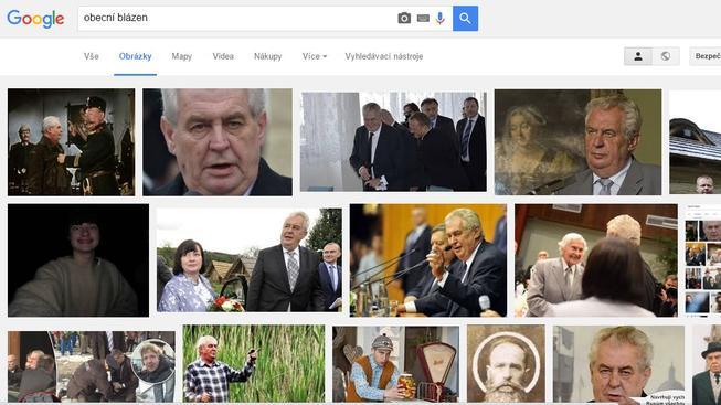 """Po zadání hesla """"obecní blázen"""" Google ukáže prezidenta Miloše Zemana"""