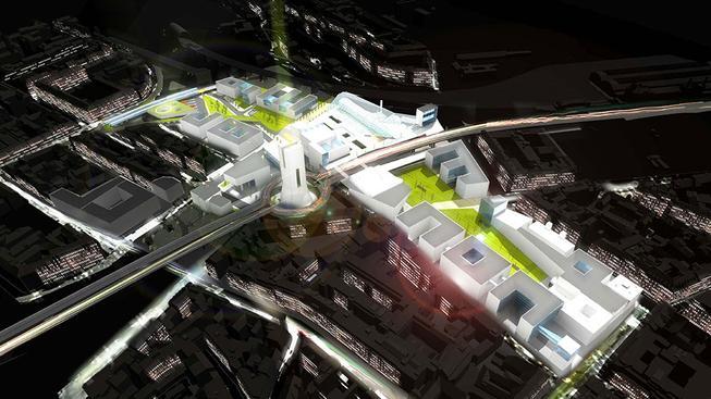 Jeden z návrhů budoucí podoby Masarykova nádraží od architektů z Adns