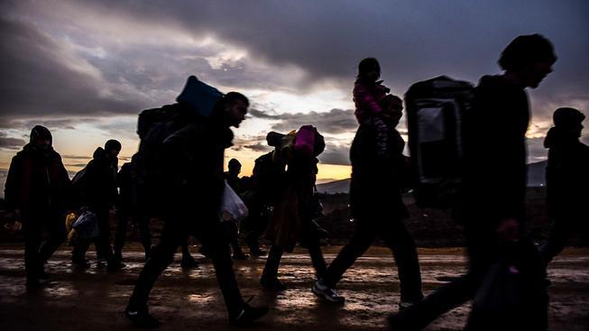 Uprchlíci na makedonsko-srbských hranicích