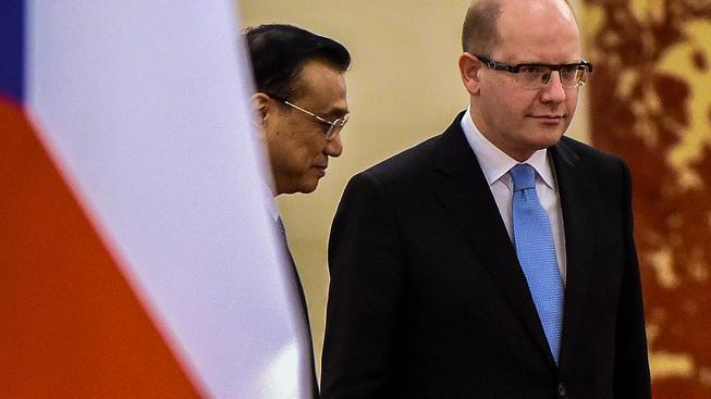 Čínský premiér Li Kche-čchiang s šéfem české vlády Sobotkou