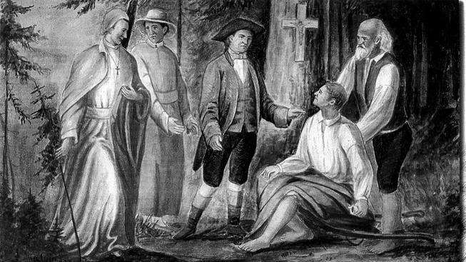 Johann Nepomuk Josef Nehr (v černém klobouku) na setkání s premonstráty u Křížového pramene (obraz uložen v klášteře Teplá)