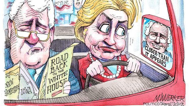 clintonová, sanders, karikatura