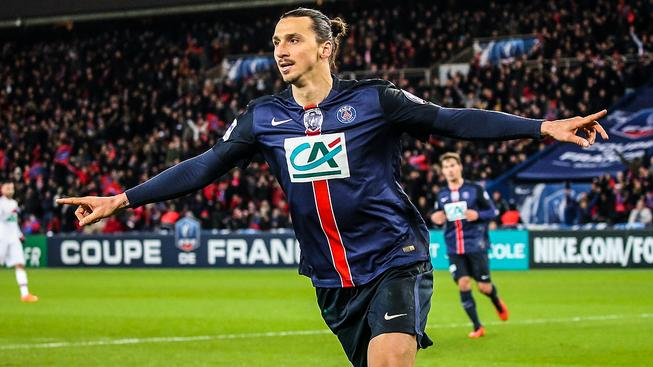 Střelec prvního gólu PSG Zlatan Ibrahimovič