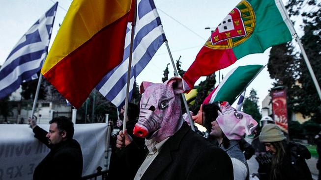 Symbolem nejzadluženějších států Evropy se stalo prase