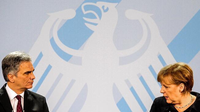 Werner Faymann a Angela Merkelová