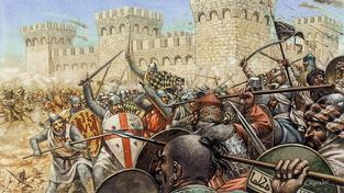 Křižáci v bitvě se Saracény. Ilustrace