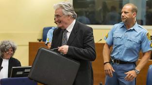 Bývalý politický vůdce bosenských Srbů Radovan Karadžič u soudu (snímek z roku 2013)