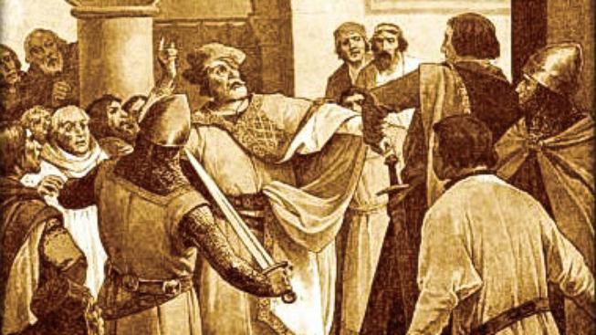 Hádka mezi Václavem I. a císařem Fridrichem II. na obrazu z 19. století od Věnceslava Černého
