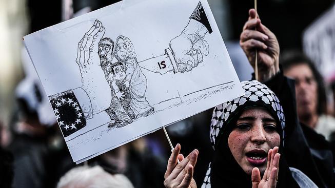 Protest na podporu uprchlíků ve Španělsku. Ilustrační snímek
