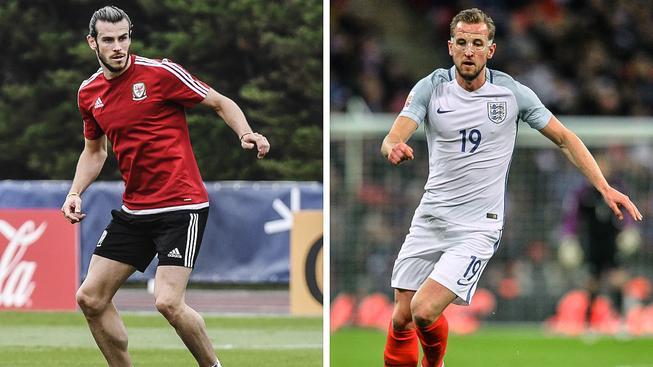 Ofenzivní hvězdy obou týmů: vlevo Velšan Gareth Bale, vpravo Angličan Harry Kane