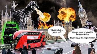 """Jeden z mála příspěvků od zastánců brexitu - si bere na paškál varování, která přicházela před hlasováním. """"Co to sakra je? """"Ale... Odhlasovali jsme vystoupení z Evropské unie. BBC říkala, že se to může stát."""""""