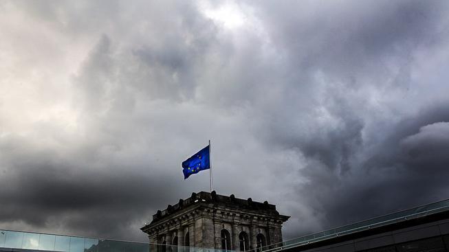 Unijní vlajka nad Reichstagem. Ilustrační snímek