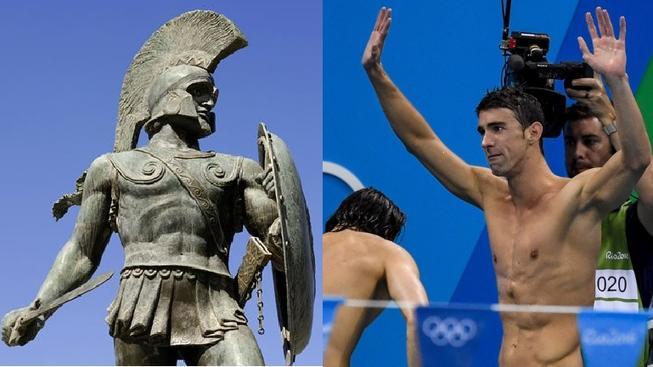 Největší sběratelé olympijských individuálních triumfů: řecký atlet Leonidas a americký plavec Michael Phelps