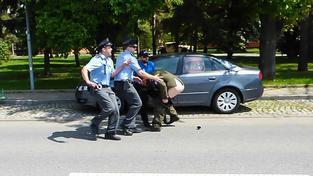Za vystrčený holý zadek na americký konvoj dostal muž podmínku za výtržnictví