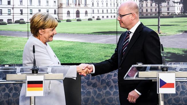 Německá kancléřka Angela Merkelová se sešla s premiérem Bohuslavem Sobotkou