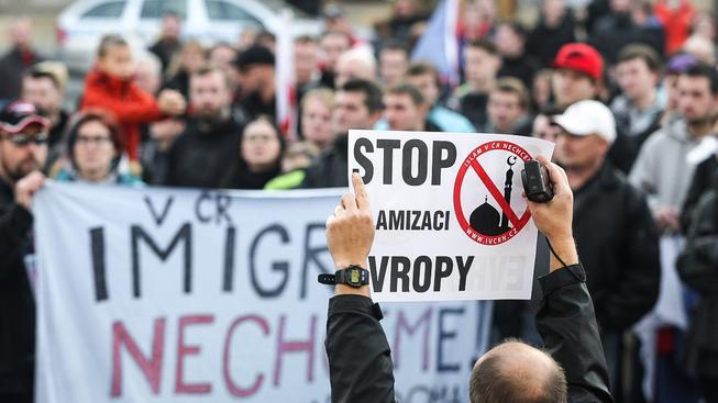 Protiislámské názory spojily na demonstracích i extremistické organizace, které jinak vzájemně nespolupracují