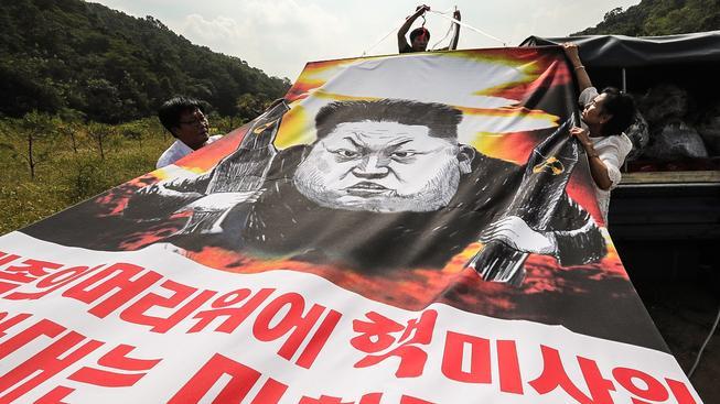 Aktivisté v demilitarizované zóně mezi KLDR a Jižní Koreou