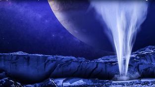 Záběr z animace gejzíru na Europě