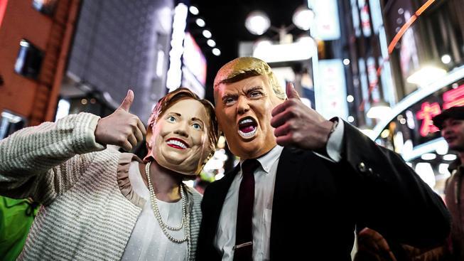 Masky prezidentských kandidátů Hillary a Donalda