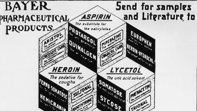 Německý farmaceutický gigant propagoval svůj heroin i jako zázračný lék proti dětskému kašli