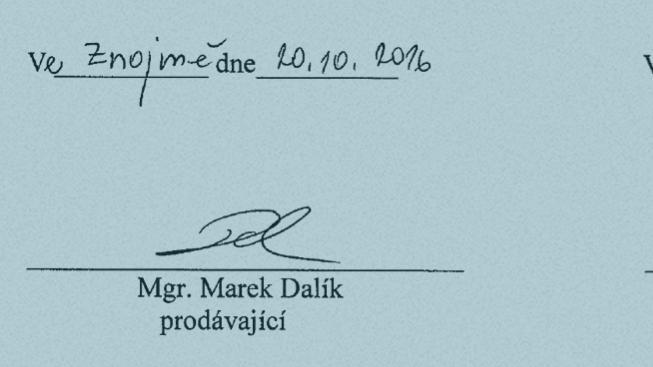 Podpisy Dalíka a Beneše pod kupní smlouvou