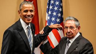 Raúl Castro s Barackem Obamou