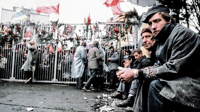 Dělníci v gdaňské loděnici, rok 1980