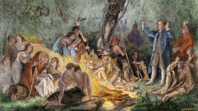 David Zeisberger káže Indiánům v Pensylvánii