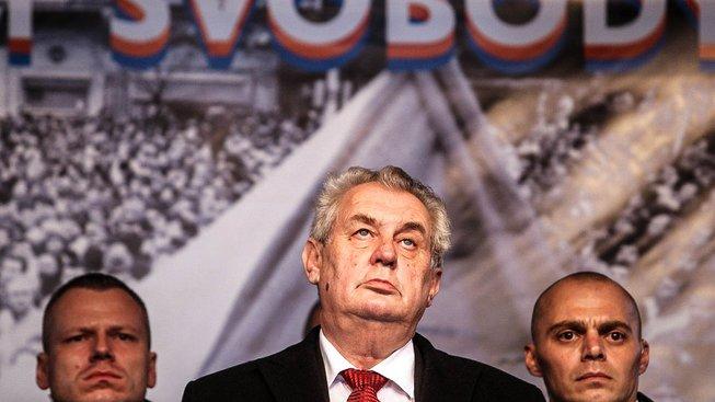 Miloš Zeman na Albertově v roce 2014