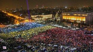 Bukurešťské náměstí před sídlem vlády patří od konce ledna demonstrantům