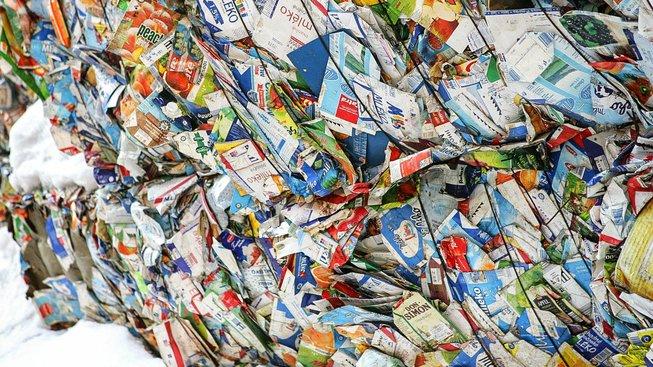 Vytříděné tetrapaky. Ilustrační snímek