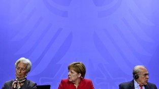 Šéfka Mezinárodního měnového fondu Lagardeová, německá kancléřka Merkelová a generální tajemník Organizace pro hospodářskou spolupráci Gurria