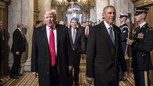 Trump a Obama v den Trumpovy inaugurace
