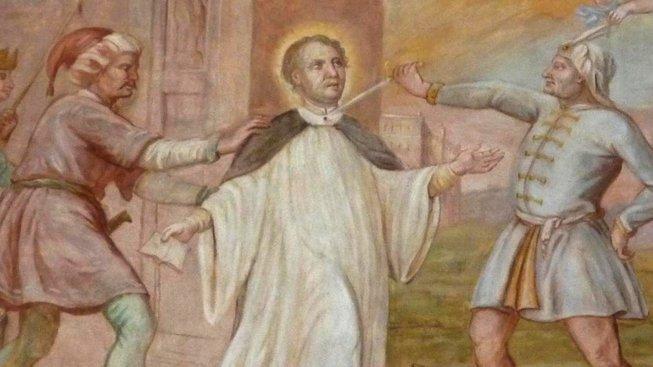 Kostelní malba zachycující vraždu svatého Akvilina