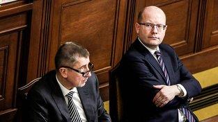 Andrej Babiš a Bohuslav Sobotka na lednovém zasedání