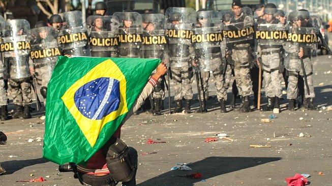 Protesty ve městě Brasília
