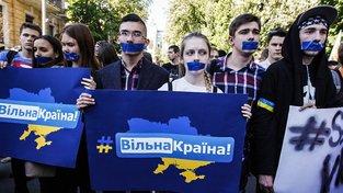 Protest ukrajinské mládeže proti omezování internetu