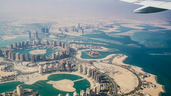 Dauhá z leteckého pohledu