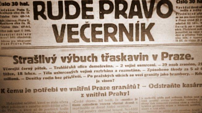 Článek z novin o výbuchu v Truhlářské ulici z roku 1926