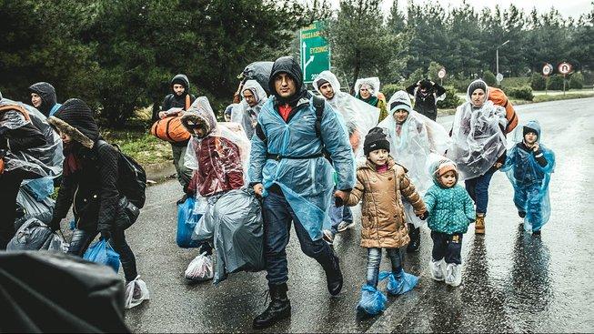 Migranti v uprchlickém táboře na řecko-makedonské hranici