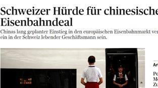 Článek o převodu podílů ve Škodě Transportation ve švýcarském Tages Anzieger