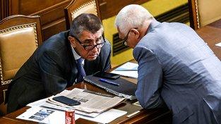 Ministr financí Andrej Babiš a předseda klubu ANO Jaroslav Faltýnek