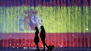 Fontána se španělskou vlajkou v Záhřebu na památku obětí atentátů ve Španělsku