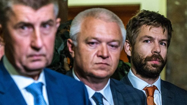 Andrej Babiš, Jaroslav Faltýnek a Robert Pelikán