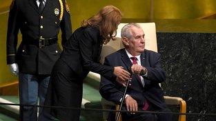 Miloš Zeman před projevem na Valném shromáždění OSN