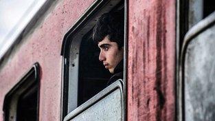 Uprchlické dítě ve vlaku na makedonsko-řeckých hranicích. Ilustrační snímek