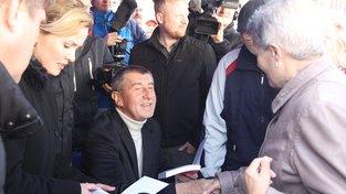 Andrej Babiš na předvolebním mítinku